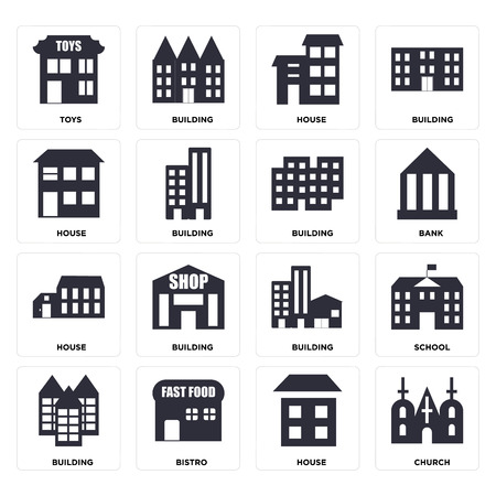 Set Of 16 icons such as Church, House, Bistro, Building, School, Toys, web UI editable icon pack, pixel perfect