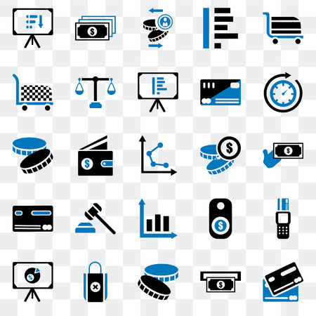 Set Of 25 transparent icons such as Cit card, Atm, Coin, Bag, Presentation, Time passing, Graph, Cart, Notes, web UI transparency icon pack