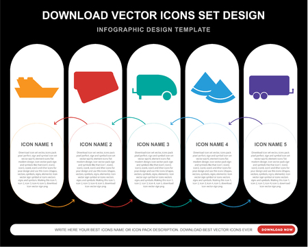 5 vector icons such as Yatch, Postcard, Caravan, Watermelon, Caravan for infographic, layout, annual report, pixel perfect icon Vettoriali