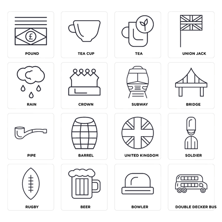 Set Of 16 icons such as Double decker bus, Bowler, Beer, Rugby, Soldier, Pound, Rain, Pipe, Subway, web UI editable icon pack, pixel perfect Stock Illustratie