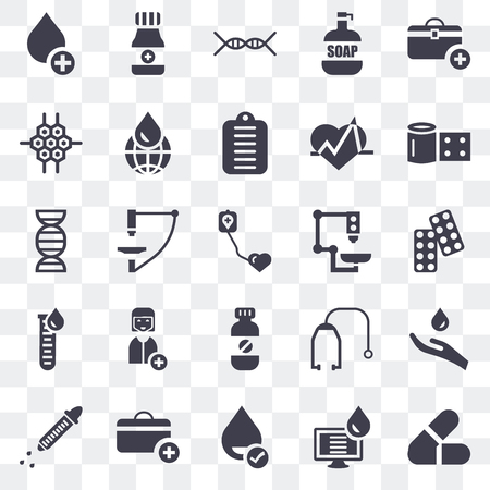 Set Of 25 transparent icons such as Pills, Computer, Blood, First aid kit, Dropper, Bandage, Microscope, Medicine, Blood test, Cell, Dna, Alcohol, web UI transparency icon pack Illustration