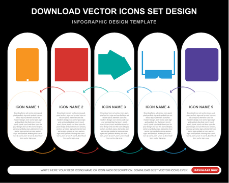 5 vector icons such as Game, Die, Club card, 3d glasses, Button for infographic, layout, annual report, pixel perfect icon Ilustrace
