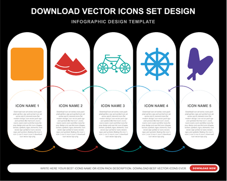 5 vector icons such as Sunset, Watermelon, Bike, Rudder, Ice lolly for infographic, layout, annual report, pixel perfect icon