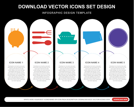 5 vector icons such as Restaurant, Cutlery, Cruise, Boarding pass, Summer for infographic, layout, annual report, pixel perfect icon