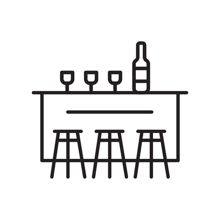 Bar icon vector isolated on white background, Bar transparent sign , thin line design elements in outline style Illustration