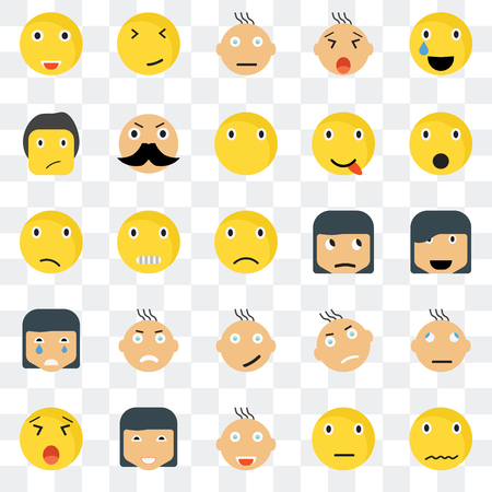Set Of 25 transparent icons such as Sca smile, Happy Shocked Faint Yawning Rich Angry Confused web UI transparency icon pack, pixel perfect