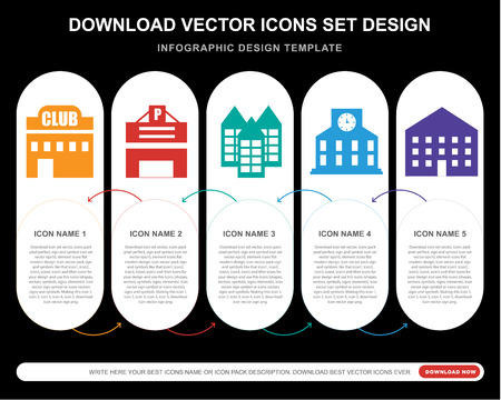 5 vector icons such as Club, Parking, Building, Station, Building for infographic, layout, annual report, pixel perfect icon