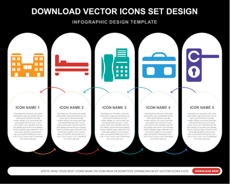 5 vector icons such as Building, Bed, Telephone, Suitcase, Doorknob for infographic, layout, annual report, pixel perfect icon