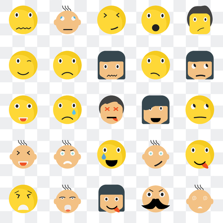 Set Of 25 transparent icons such as Faint smile, Thinking Sceptic Confused Desperate Sad Happy web UI transparency icon pack, pixel perfect Illustration