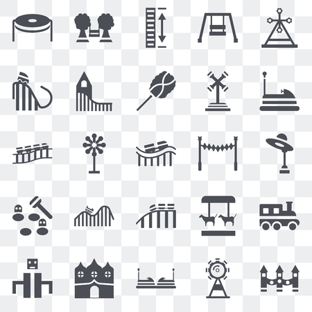 Set Of 25 transparent icons such as Ride, Ferris wheel, Childhood, Haunted house, Playground, Bumper car, Roller coaster, Whack a mole, Height, web UI transparency icon pack