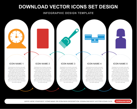 5 vector icons such as   Smartphone, Paint brush, Film, Girl for infographic, layout, annual report, pixel perfect icon