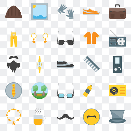 Set Of 25 transparent icons such as Accesory, Mustache, Hipster, Hot drinks, Radio, Comb, Dungarees, Picture, web UI transparency icon pack Stock Illustratie