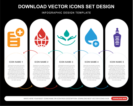 5 vector icons such as Prescription, Global, Blood, Drop, Feeding bottle for infographic, layout, annual report, pixel perfect icon