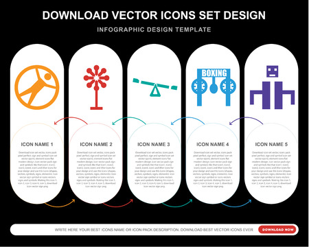 5 vector icons such as Zorbing, Childhood, Playground for infographic, layout, annual report, pixel perfect icon Stock Illustratie