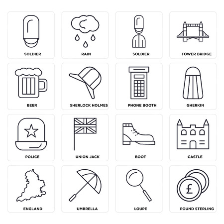Set Of 16 icons such as Pound sterling, Loupe, Umbrella, England, Castle, Soldier, Beer, Police, Phone booth, web UI editable icon pack, pixel perfect Illustration