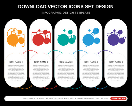 5 vector icons such as Music player, Camera, Weight, Singing, Travel for infographic, layout, annual report, pixel perfect icon