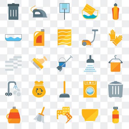 Ensemble de 25 icônes transparentes telles que détergent, bol, éponges, plume, adoucissant, gants, douche, plongeur, assiette de lavage, bol d'eau, nettoyage de verre, fer à repasser, pack d'icônes de transparence de l'interface utilisateur Web