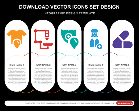5 vector icons such as Shirt, Microscope, Shield, Nurse, Pills for infographic, layout, annual report, pixel perfect icon