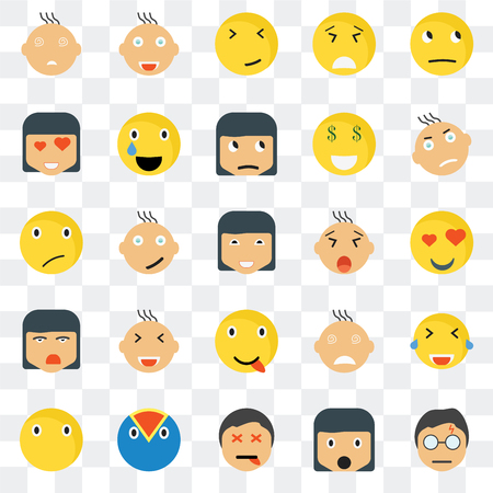 Set Of 25 transparent icons such as Thinking smile, Surprised Angry Superhero Silent Laughing Happy web UI transparency icon pack, pixel perfect