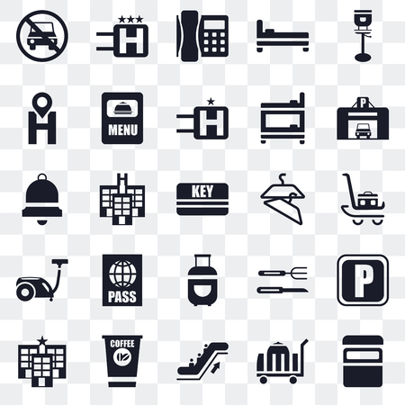 Set Of 25 transparent icons such as Bed, Room service, Escalator, Coffee, Hotel, Parking, Hanger, Luggage, Vacuum cleaner, Location, Telephone, web UI transparency icon pack