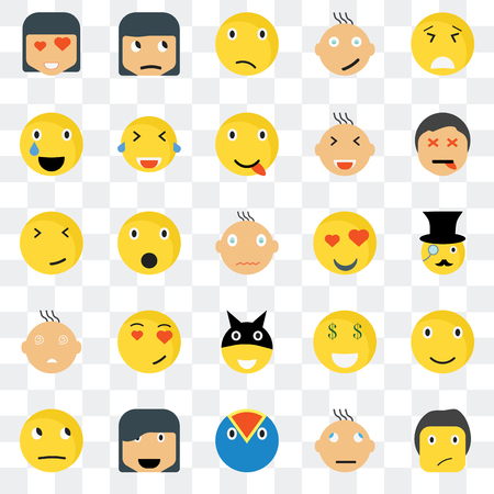 Set Of 25 transparent icons such as Ti smile, Gentleman Dead Sceptic Thinking Laughing Rich Faint web UI transparency icon pack, pixel perfect