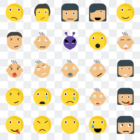 Set Of 25 transparent icons such as Sceptic smile, Happy Ti Confused Joyful Yawning web UI transparency icon pack, pixel perfect