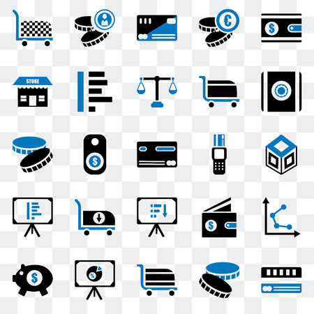 Set Of 25 transparent icons such as Cit card, Coin, Cart, Presentation, Piggy bank, Safebox, Point of service, Store, web UI transparency icon pack