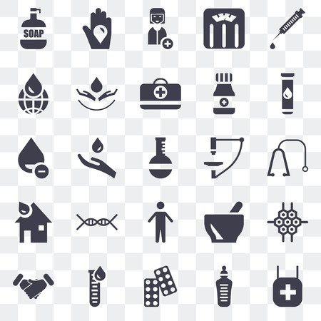 Set Of 25 transparent icons such as Pharmacy, Feeding bottle, Drugs, Blood test, Handshake, Microscope, Arms, Blood, Global, Nurse, donation, web UI transparency icon pack Illustration