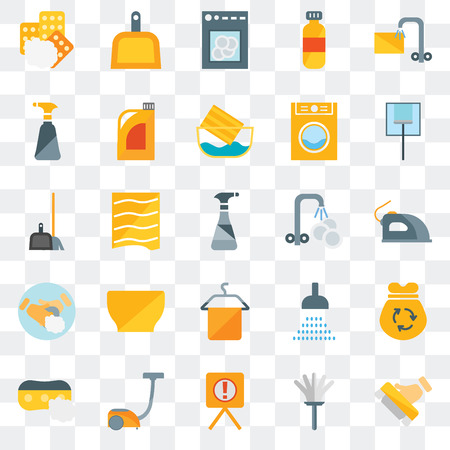 Set Of 25 transparent icons such as Brush, Feather duster, Warning, Vacuum, Sponge, Glass cleaning, Washing plate, Towel, Hand soap, Spray, Dishwasher, Dustpan, web UI transparency icon pack Stock Illustratie