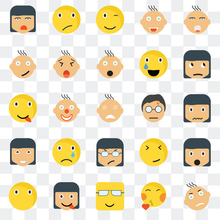 Set Of 25 transparent icons such as Angry smile, Sca Sceptic Silent Yawning Faint Happy web UI transparency icon pack, pixel perfect Illustration