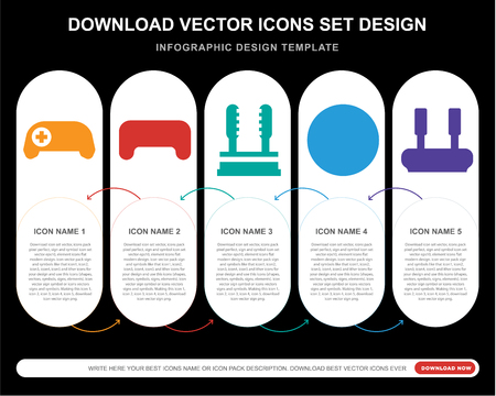 5 vector icons such as Gamepad, Billiard, Joystick, Bowling, Joystick for infographic, layout, annual report, pixel perfect icon Çizim
