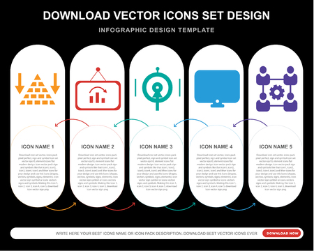5 vector icons such as Pyramid chart, Analytics, Target, Network for infographic, layout, annual report, pixel perfect icon