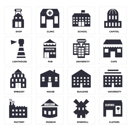 Set Of 16 icons such as Clothes, Windmill, Museum, Factory, University, Shop, Lighthouse, Embassy, web UI editable icon pack, pixel perfect