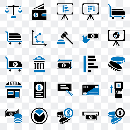 Set Of 25 transparent icons such as Coin, Atm, Pie chart, Change, Presentation, Graph, Check, Barbershop, Cart, Wallet, web UI transparency icon pack