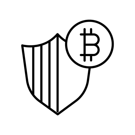 Bitcoin icon vector isolated on white background, Bitcoin transparent sign , thin line design elements in outline style