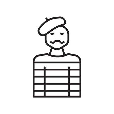 Vector icono de Mime aislado sobre fondo blanco, signo transparente de Mime, elementos de diseño de línea fina en el estilo de contorno