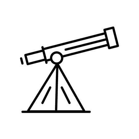 Telescope icon vector isolated on white background, Telescope transparent sign , thin line design elements in outline style Çizim