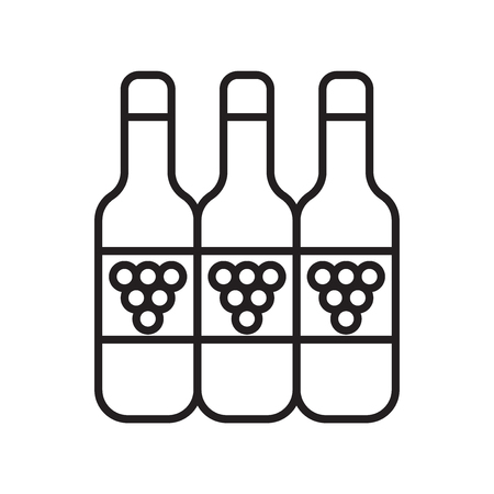 Wine icon vector isolated on white background, Wine transparent sign , thin line design elements in outline style
