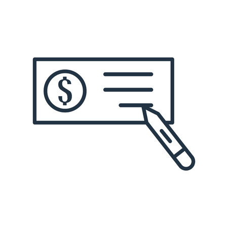 Cheque icon vector isolated on white background, Cheque transparent sign