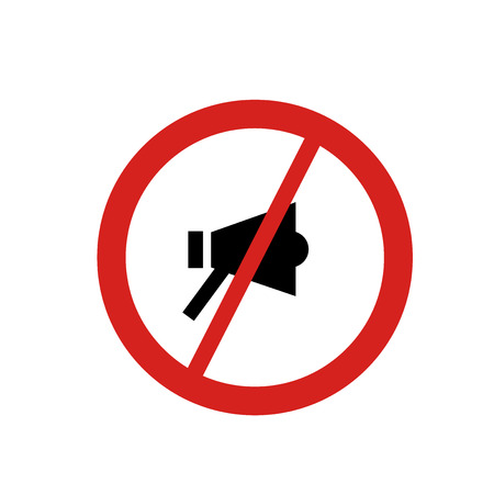No shouting icon vector isolated on white background for your web and mobile app design, No shouting logo concept