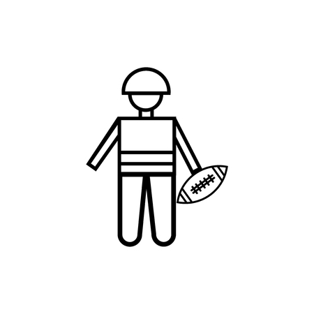 American football player picking the ball icon vector isolated on white background for your web and mobile app design, American football player picking the ball logo concept