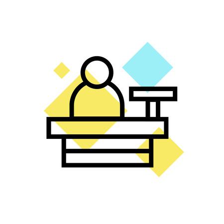 Icona di cassiere vettoriale isolato su sfondo bianco per il vostro web e progettazione di app per dispositivi mobili, concetto di marchio di cassiere