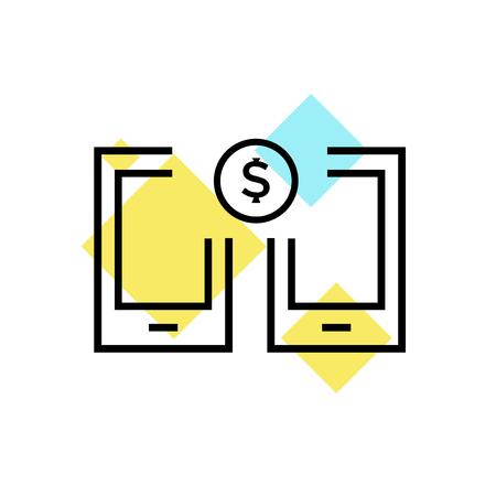 Transferencia de dinero icono del vector aislado en el fondo blanco para su web y la aplicación de la marca de verificación de dinero móvil. símbolo de logotipo Foto de archivo - 107092105