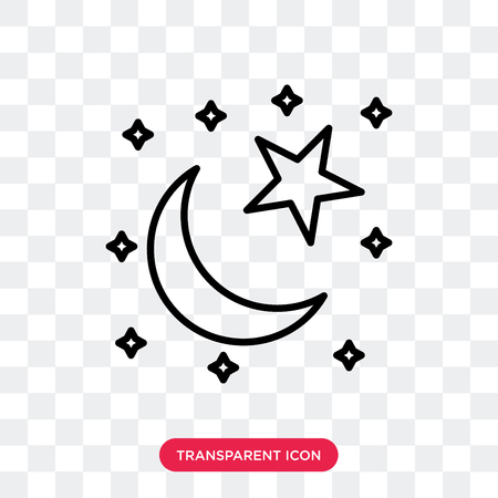Star and Crescent Moon vector icon isolated on transparent background, Star and Crescent Moon logo concept Illustration