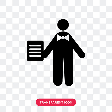 Waiter vector icon isolated on transparent background, Waiter logo concept