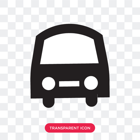 Frontal bus vector icon isolated on transparent background, Frontal bus logo concept