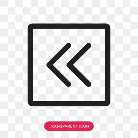 Left arrow vector icon isolated on transparent background, Left arrow logo concept Vectores
