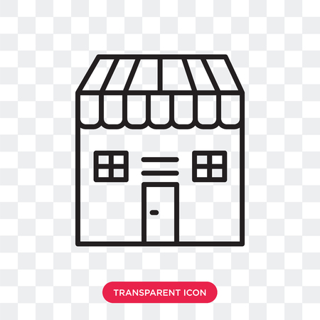 Shop vector icon isolated on transparent background, Shop logo concept