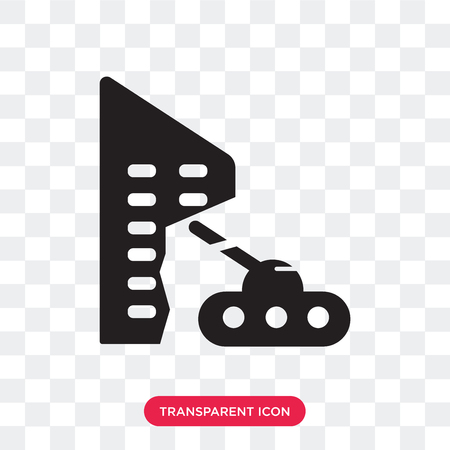 Military tank in city street vector icon isolated on transparent background, Militar tank in city street logo concept