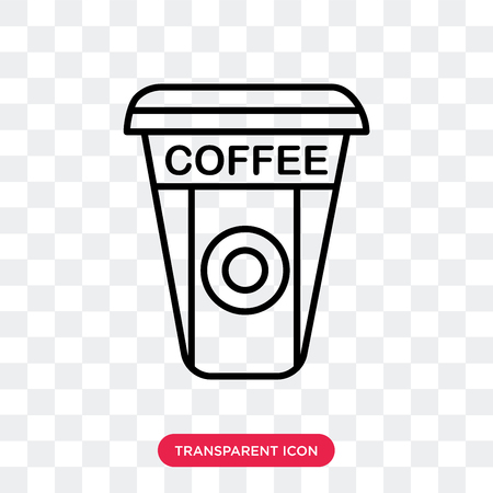 Coffee vector icon isolated on transparent background, Coffee logo concept Çizim
